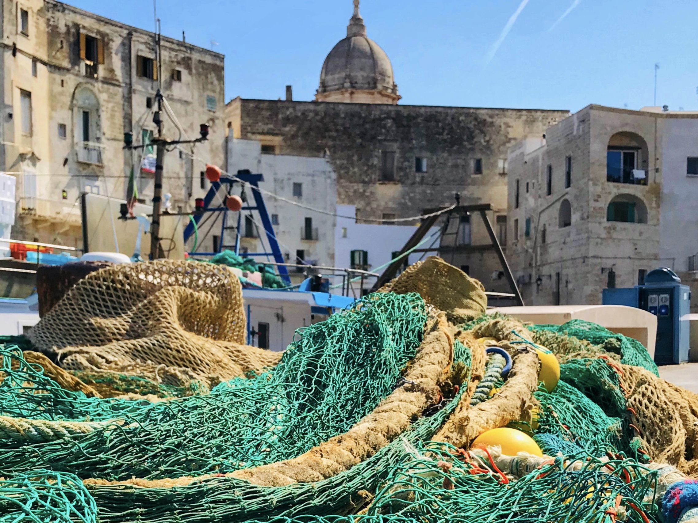 Fishing nets left to dry at the old port in Monopoli, Puglia.