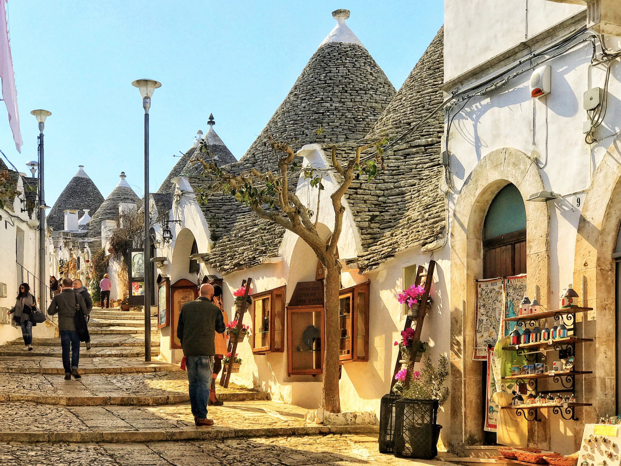 Alberobello is where you find the greatest density of Puglia's trulli - small white buildings with conical stone roofs.