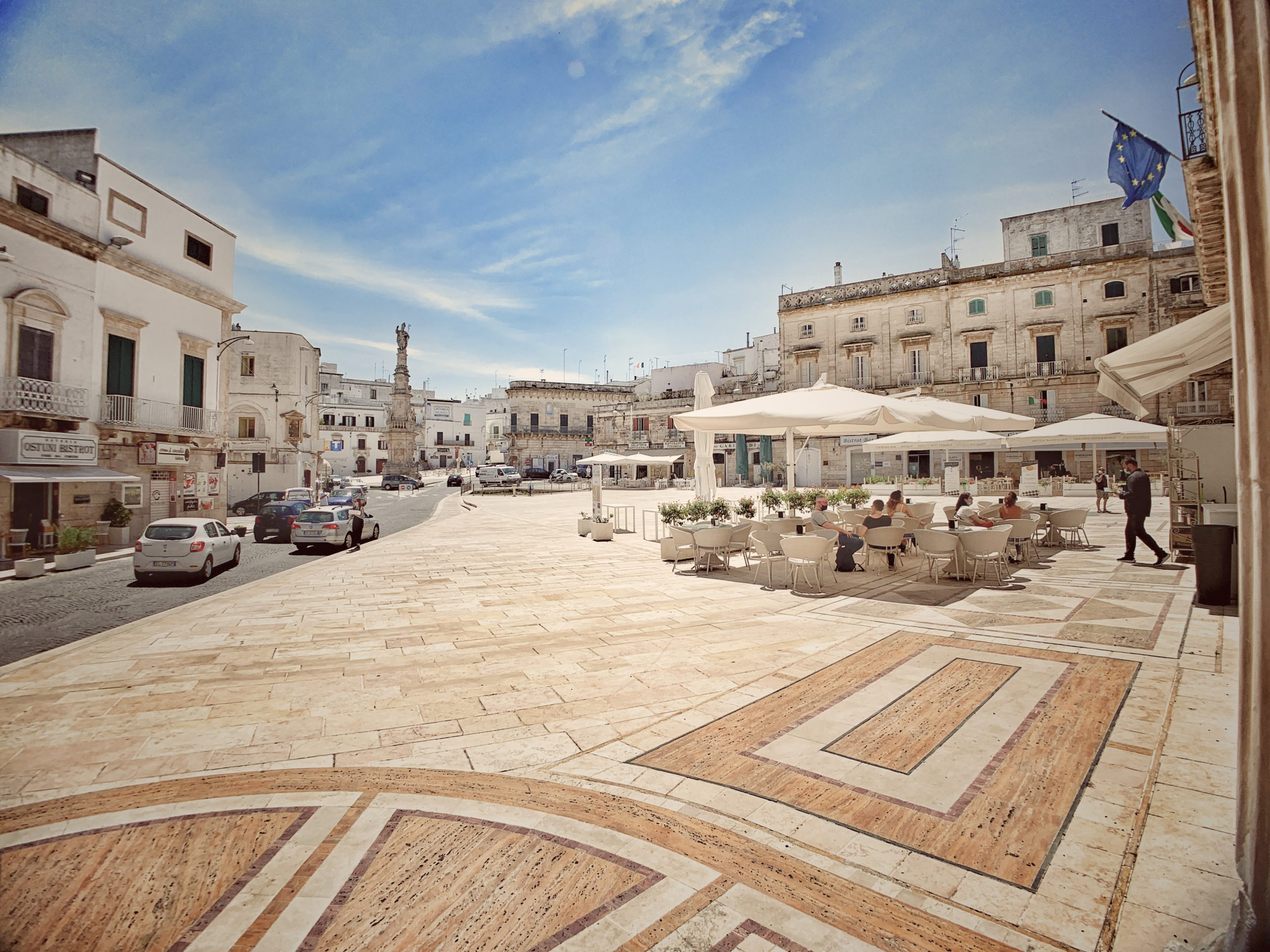 Ostuni's main square is a popular place to take a coffee of aperitivo.