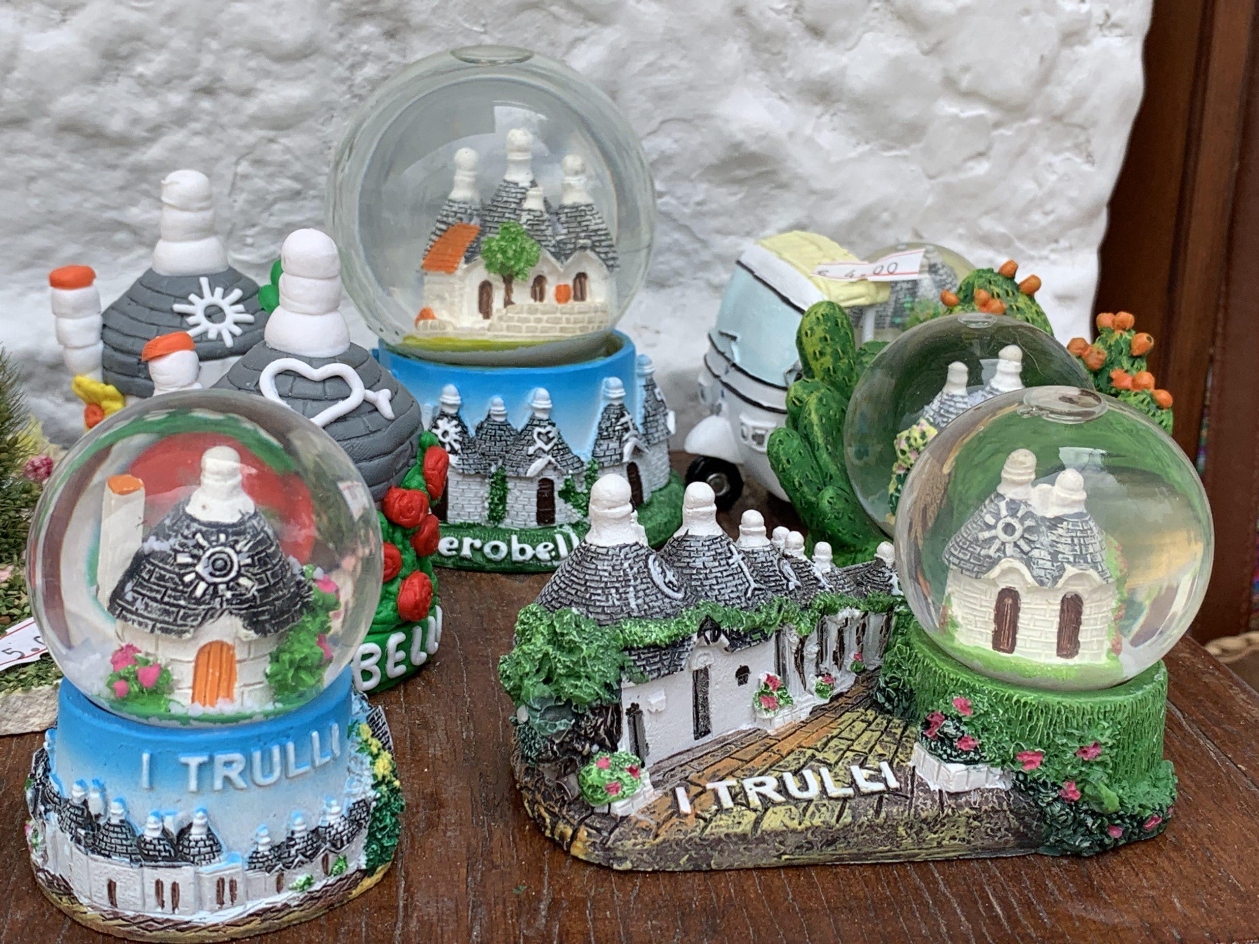Trulli snow globes on sale in Alberobello Puglia