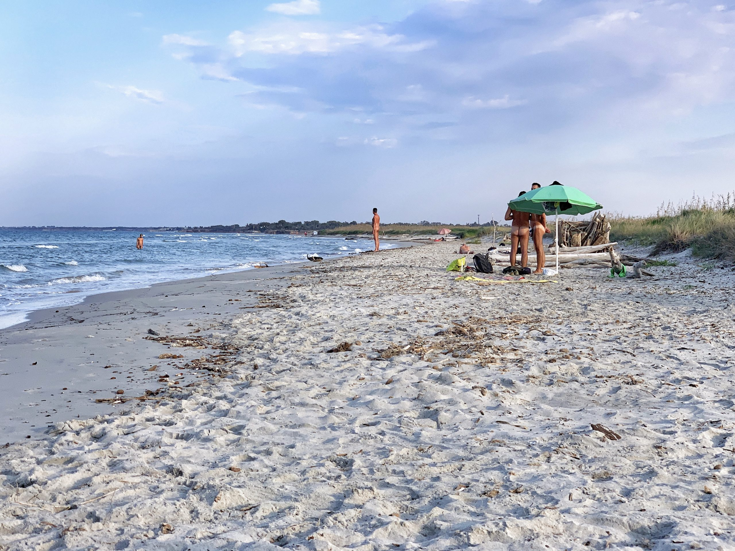 The gay and nudist naturist beach section at Torre Guaceto, Puglia. The Big Gay Guide to Puglia.