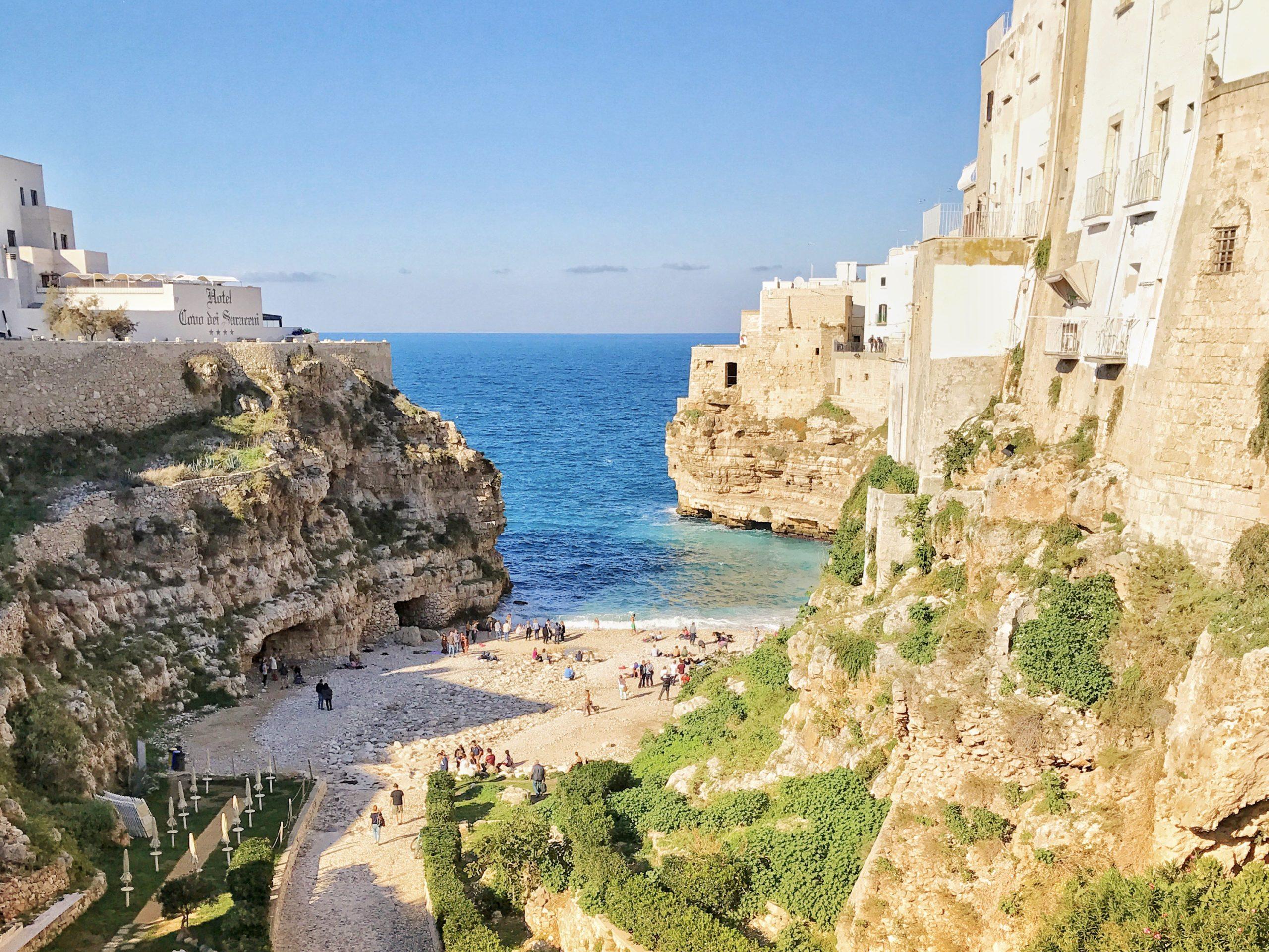 Cala Monachile offers one of Puglia's most iconic views - at Polignano a Mare.