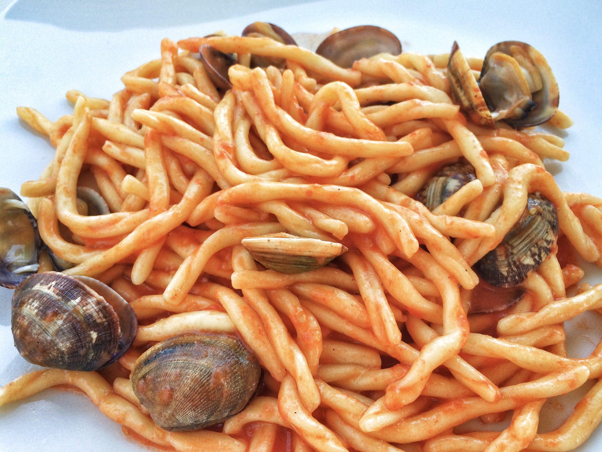 Seafood pasta in Puglia.