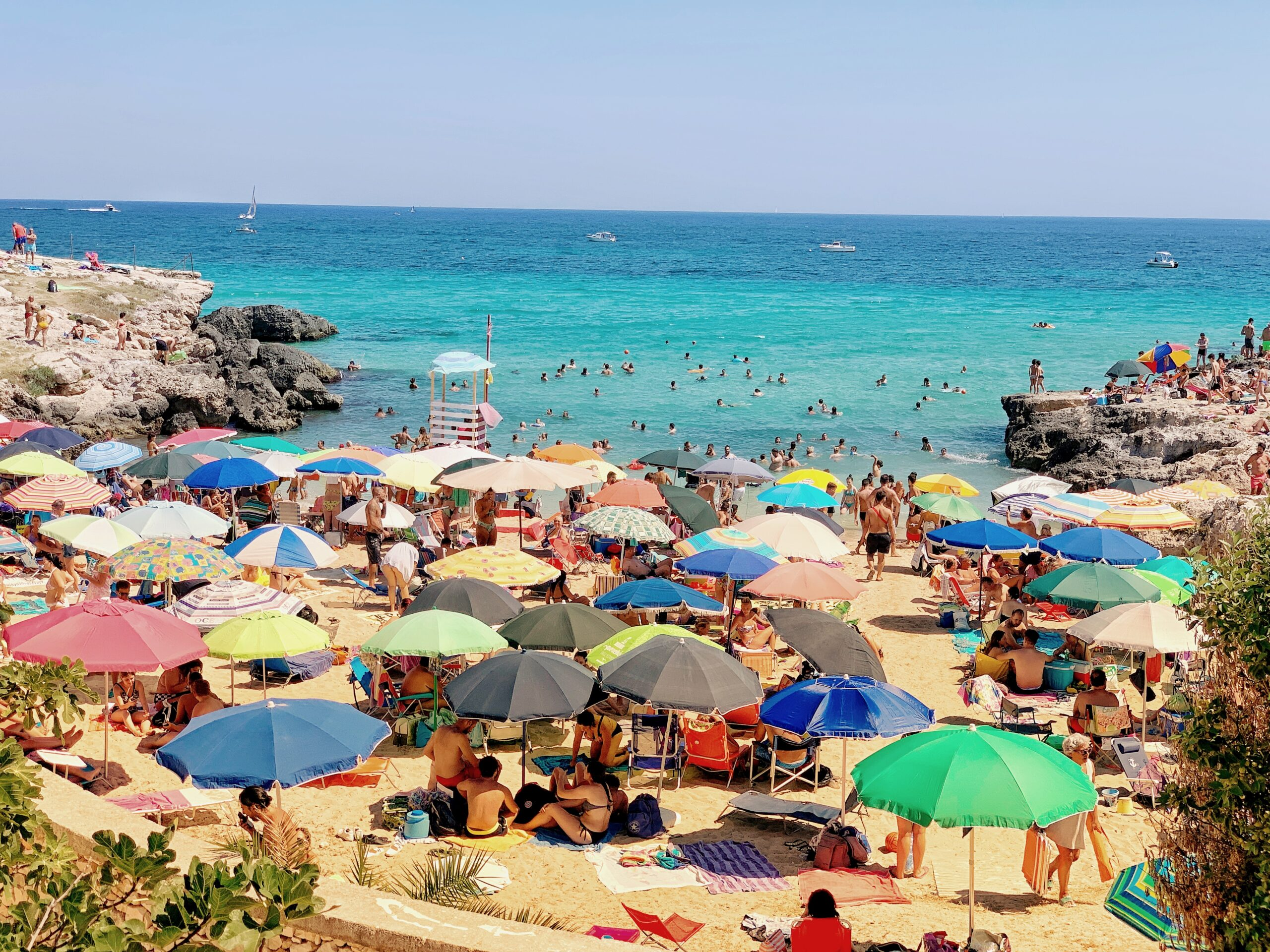 Monopoli in Puglia is a popular base for visitors wanting the sea, but sandy beach is at a premium