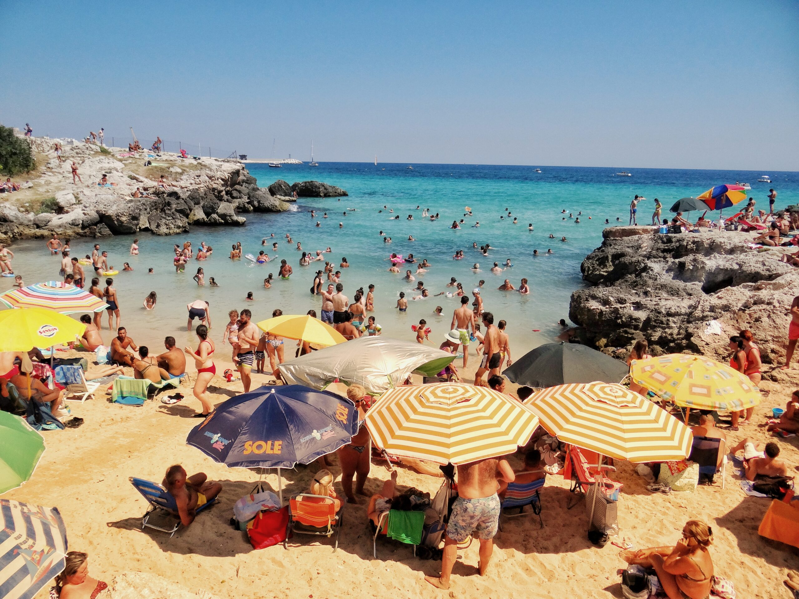 Monopoli is a popular coastal town in Puglia but the beach is busy and with little sand