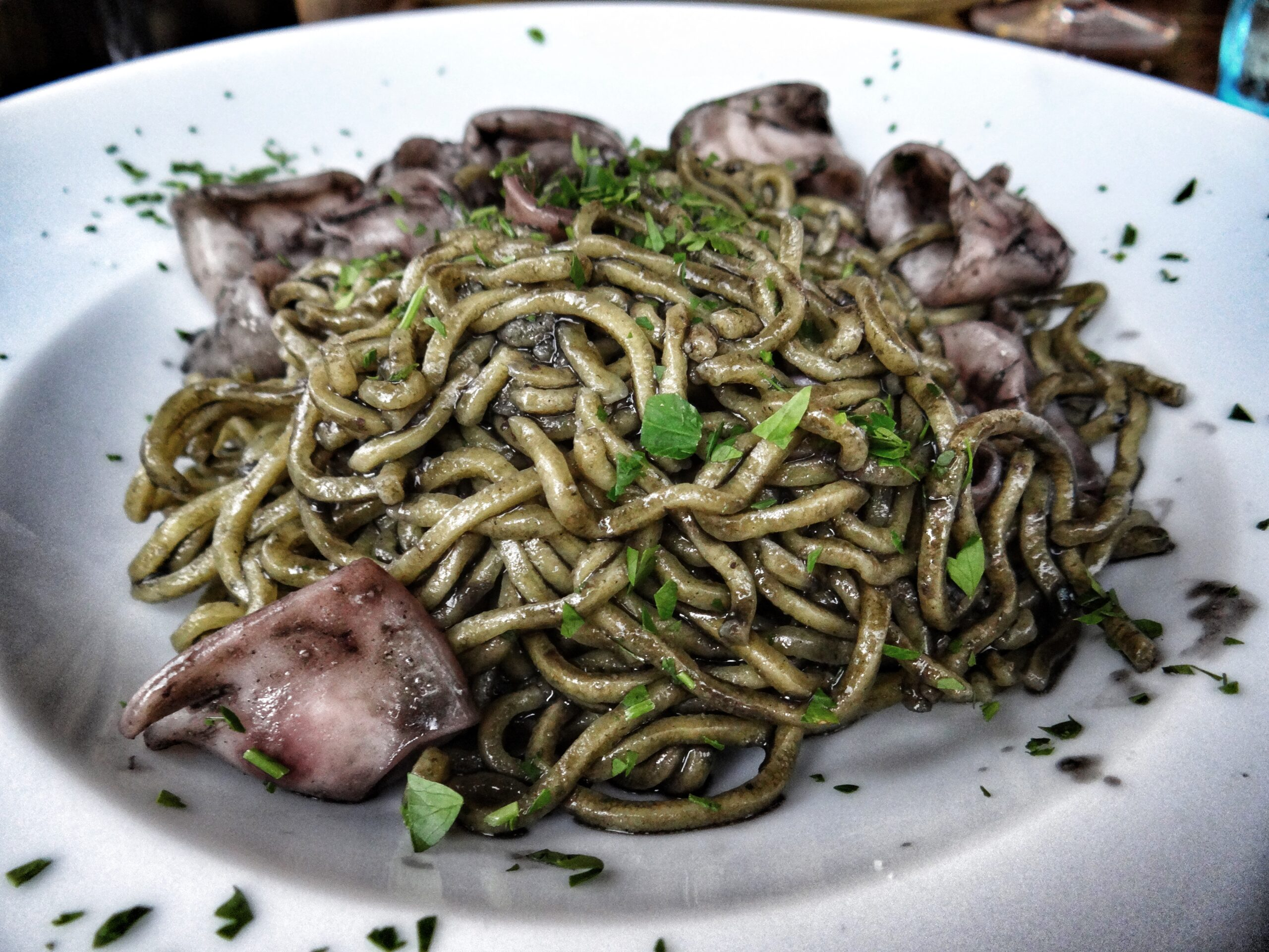 The Big Gay Podcast from Puglia guides to food in Puglia. Brought to you by gaypugliapodcast. Pasta with squid, in squid ink.